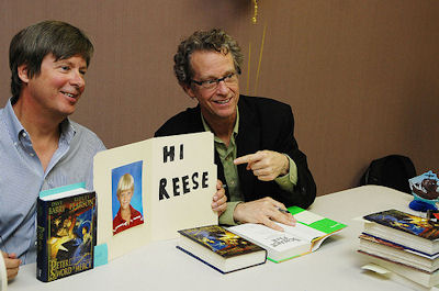 Dave Barry and Ridley Pearson on tour; Photo Credit&$58; Disney Publishing Worldwide (used by permission)