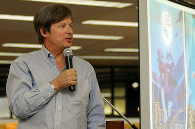 Dave Barry speaks to kids during tour; Photo Credit&$58; Disney Publishing Worldwide (used by permission)