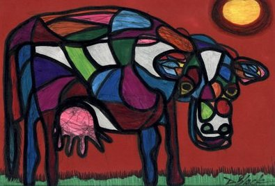 Bunte Moo, Pen-and-ink drawing by Darrell Black