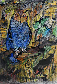 Untitled Painting of Blue Owl, By Anabel Chapman