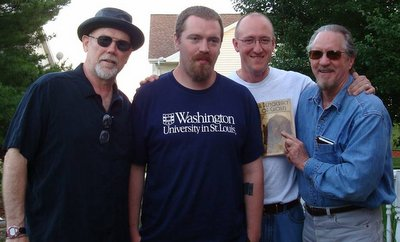 Photograph of (L-R) Steve Davenport, Okla Elliot, John Griswold, and Duff Brenna, by R. A. Rycraft