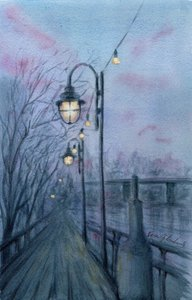Boardwalk, watercolor painting by Vera Gubnitskaia