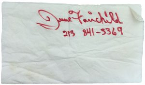 Photograph of June Fairchild's signature on a napkin, by Alexis Rhone Fancher