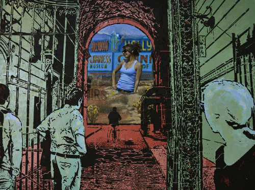 Mixed-Media Artwork, Heading West, by Lucinda Luvaas