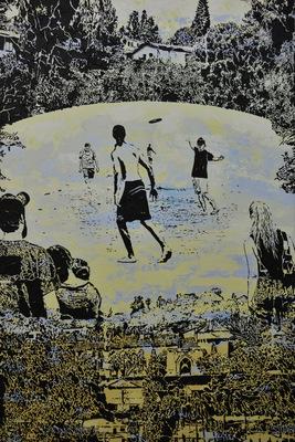 Mixed-Media Artwork, Spin, by Lucinda Luvaas