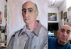 Peter Najarian with his self-portrait; self-photographed in his office, April 2013