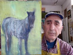 Peter Najarian with oil painting of horse; photographed in his workspace, November 2013