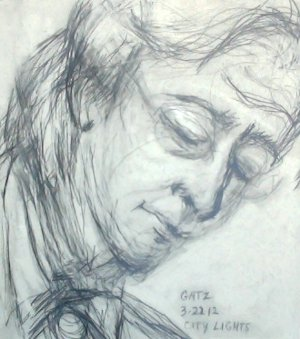"""Gatz,"" a sketch of novelist William Hjortsbert by Peter Najarian"