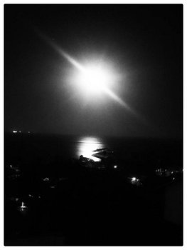 Full Moon Over San Pedro, 7 August 2017: photograph by Alexis Rhone Fancher